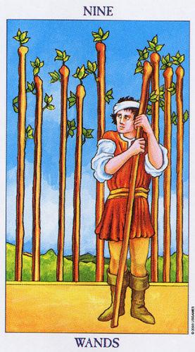 Karta Tarota - Dziewiątka Buław